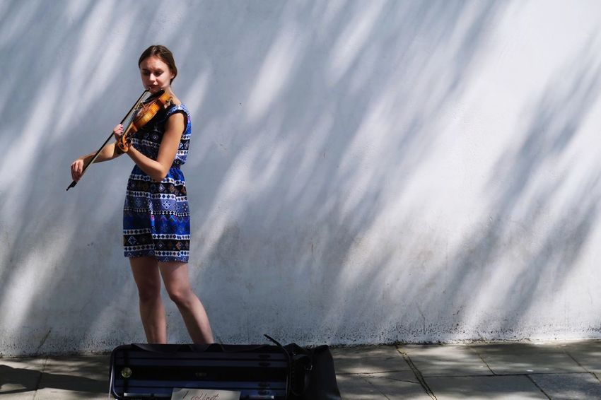 Real People Beautiful Woman One Person Full Length Young Adult Standing Lifestyles Leisure Activity Outdoors Young Women Day Musician Violinist Portrait Posing Architecture Beauty In Nature People Light And Shadow