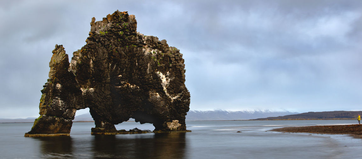 Water Rock Rock - Object Sea Cloud - Sky Rock Formation Solid Land Beauty In Nature Tranquility Nature Tranquil Scene Scenics - Nature Non-urban Scene Day Outdoors Beach Eroded Iceland Tourist Attraction