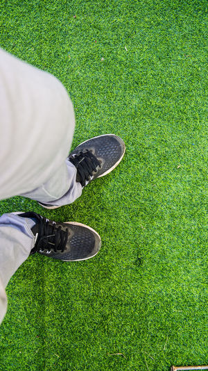 Low section of person on grass