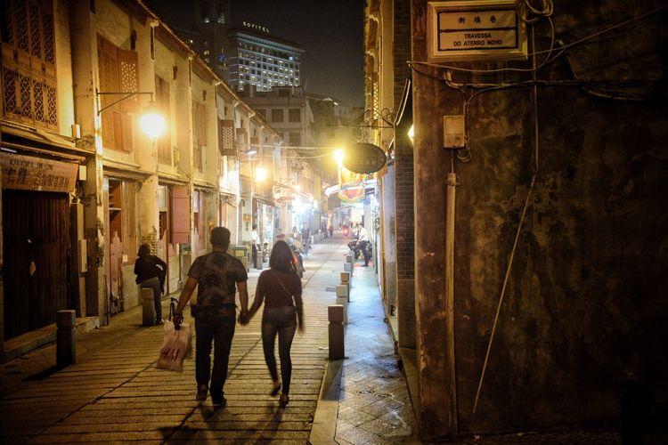 Late Nite Shopping Macau, China Alley Night Lights Nightphotography Streetphotography Street Illuminated Night City Street Lighting Equipment Architecture Walking Built Structure Women Men Street Light City Life Lifestyles
