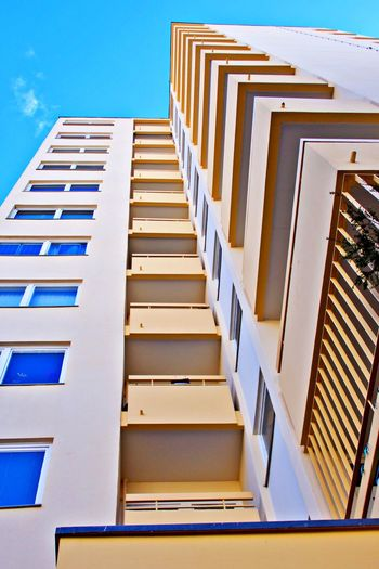 Architecture Building Exterior Built Structure Building Low Angle View No People Clear Sky Day Railing Modern Pattern City Outdoors Directly Below