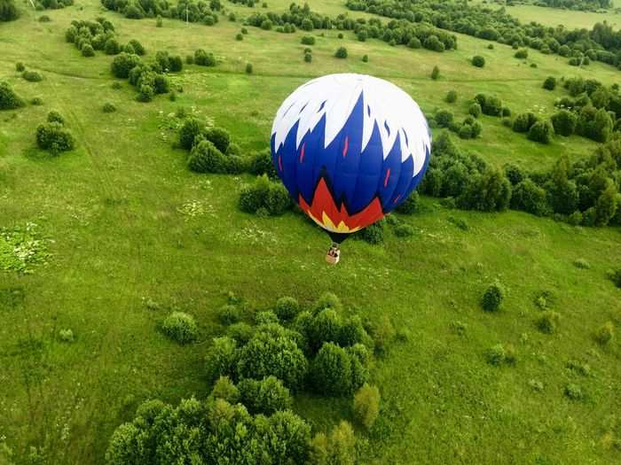 The Week On EyeEm Ballooning Festival Outdoors Hot Air Balloon Grass No People Tree Green Color Adventure Grass Tree Day Nature Grass Area Blue Landscape Growth Sport Beauty In Nature Green - Golf Course Parachute Golf Course EyeEmNewHere