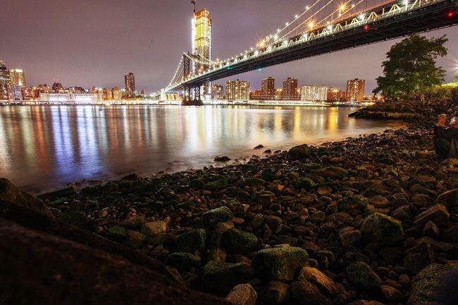 New York City Manhattan Bridge Night View DUMBO, Brooklyn
