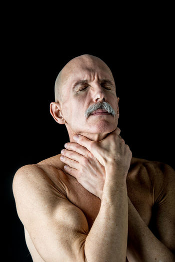 Skinny Old Man Black Background Contemplation Dark Darkroom Facial Expression Serious Studio Shot Young Adult