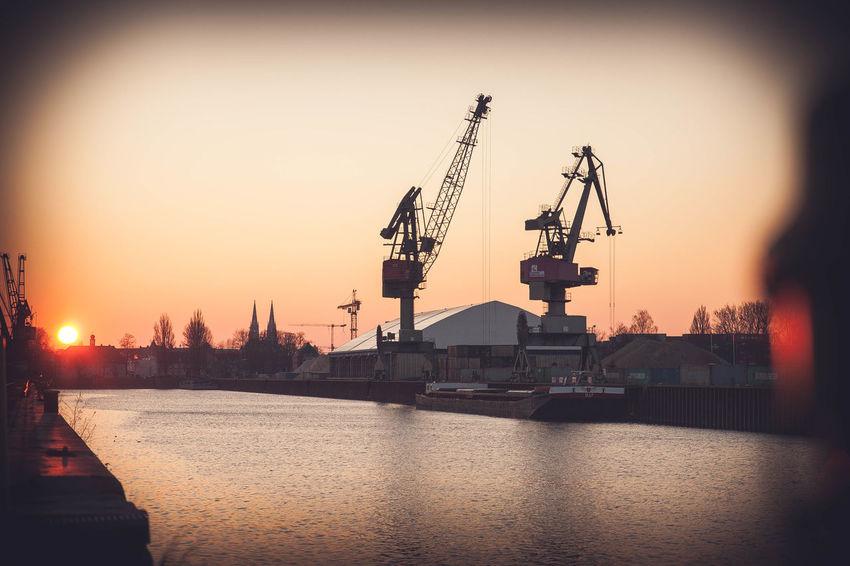 Altstadt Company Crane Danube Dom Donau Factory Hafen Harbour Railroad Regensburg River Sky Sunset Weltkulturerbe Work ölhafen