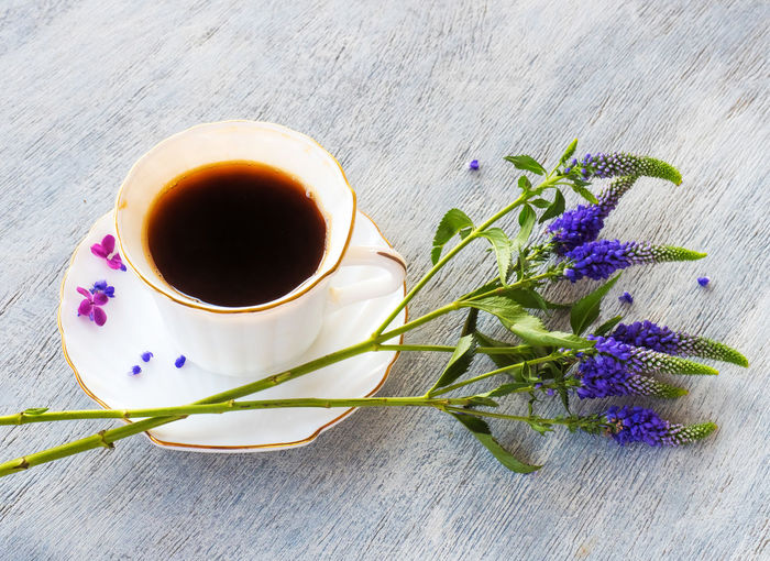 Flower Flowering Plant Freshness Plant Mug Cup Refreshment Nature Drink Food And Drink Table High Angle View Indoors  Coffee Still Life No People Tea Beauty In Nature Coffee - Drink Purple Hot Drink Crockery Flower Head Lavender Tea Cup