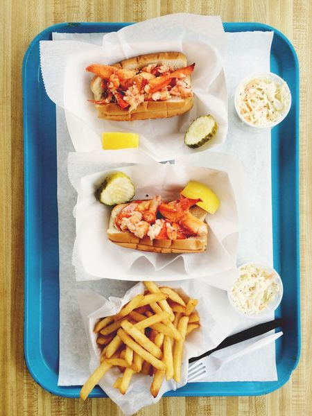Lobster rolls with fries. Connecticut, USA. Photo by Tom Bland. Food And Drink Ready-to-eat Indoors  Food IPhone IPhoneography Overhead View Directly Above High Angle View New England  Connecticut Lobster Roll Lobster Rolls French Fries Lunch Fast Food Sandwiches Seafoods Coastal Coastal Life Cuisine Lobsterroll Overhead Delicious Tasty
