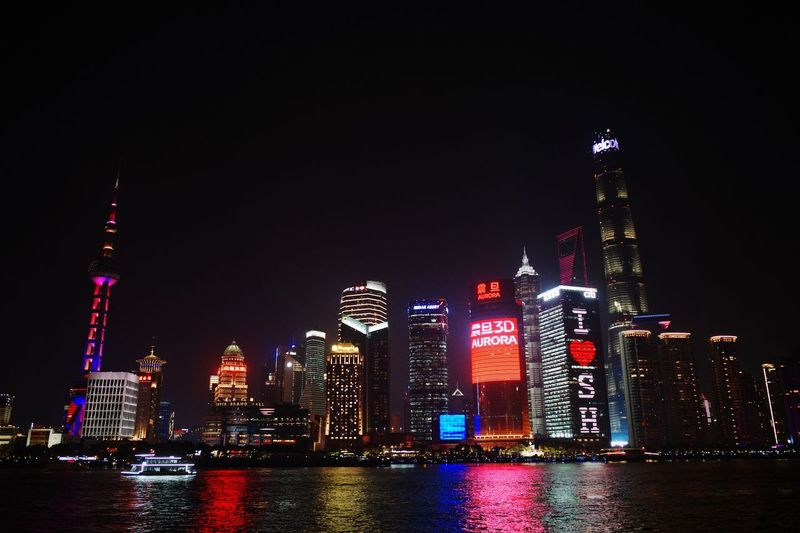 Ricoh Shanghai GRlll Sky Tall - High Office Building Exterior Building Illuminated Waterfront Urban Skyline Built Structure Skyscraper No People Water City Landscape Tower Cityscape Travel Destinations Modern Building Exterior Architecture Night