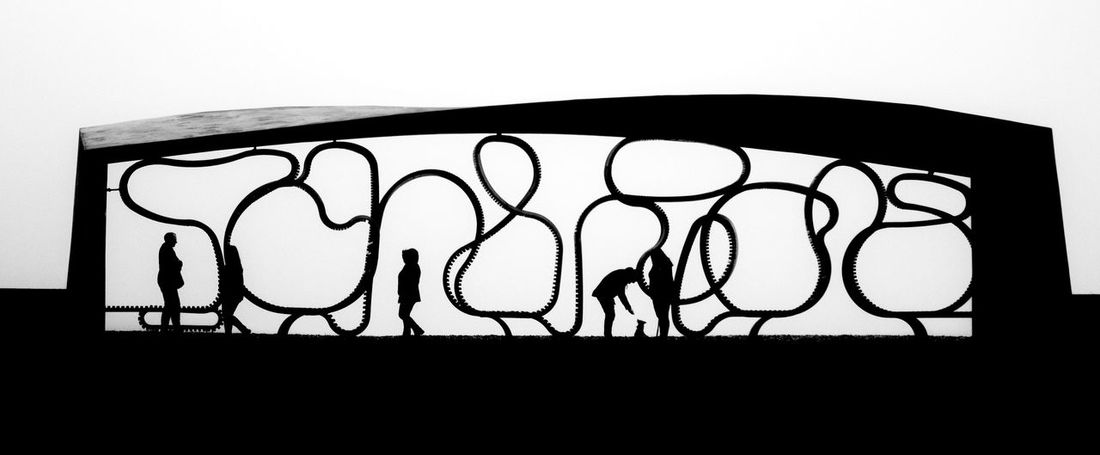 Black Blackandwhite Outdoors People Silhouette Squiggles Walkers White