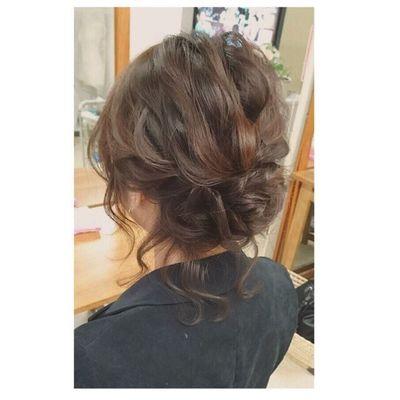 ヘアセット Hairアレンジ ヘアアレンジ Hair 美容院 錦 セットサロン 成人式 ヘアー 後毛 編み込み Byshair Locari 波ウェーブ ブライダル ボブのお客様♪アップに*\(^o^)/*