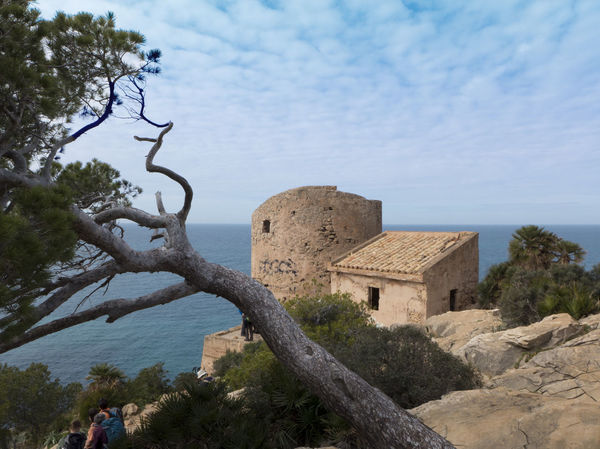Architecture Building Exterior Built Structure Cloud - Sky Day Fort Fortress Horizon Over Water Hulk Mallorca Medieval Mediterranean Sea Old Buildings Outdoors Rocks Ruins Sky SPAIN Torre Torre D'en Basset Tower Tree Tree Watch Tower Water