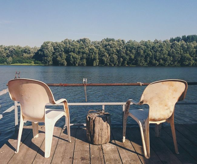 A romantic setup overlooking the danube, one of europe's largest rivers. perfect for a coffee.