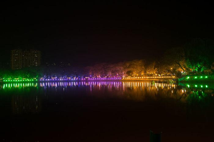 Lights Illuminated Lake View Night Lights Reflections In The Water Reflection Coulourful Night Scenics Water Tree Celebration Shot At Mumbai India , Upvan Lake The City Light
