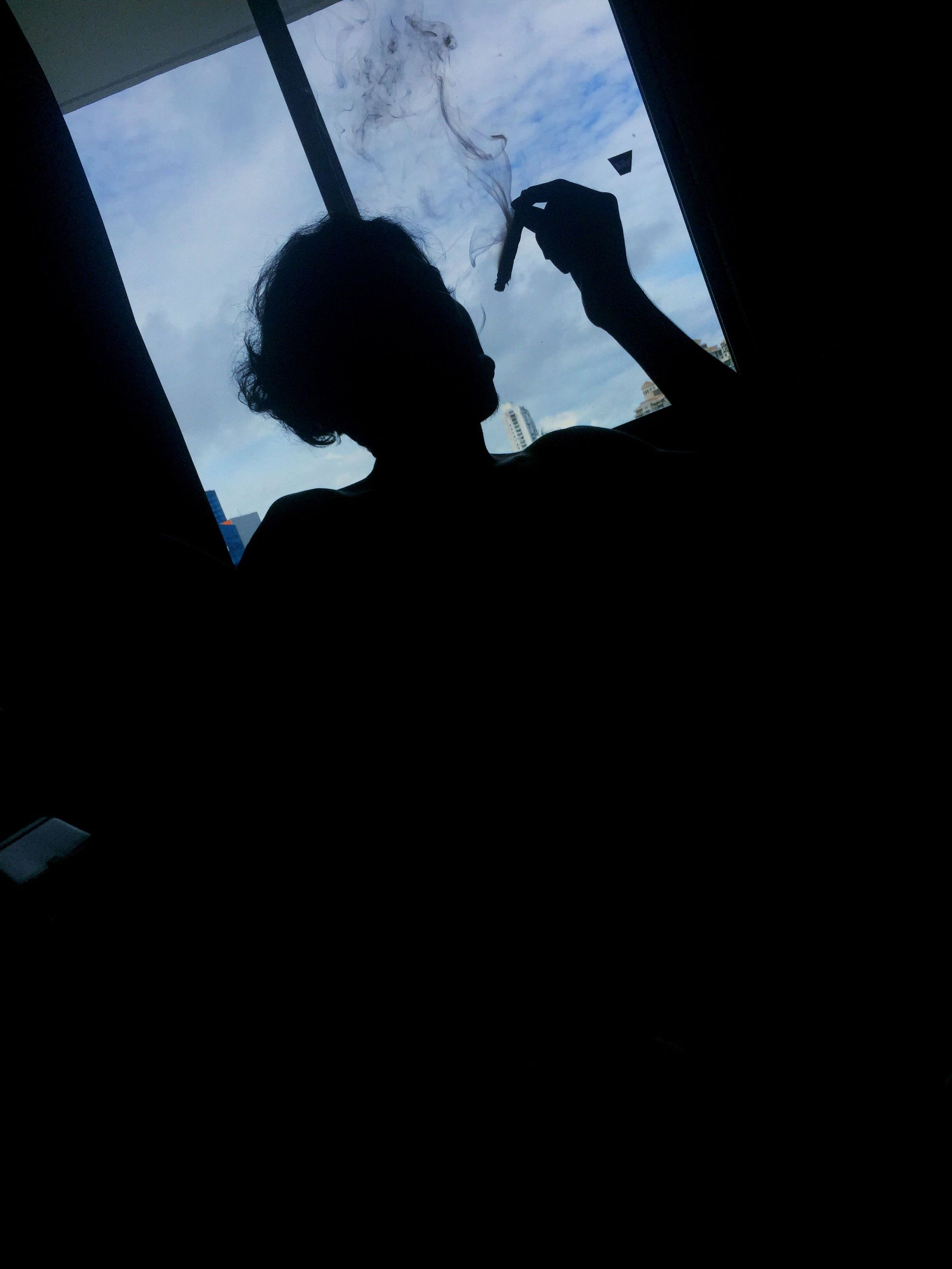 silhouette, one person, dark, only men, men, adult, one man only, people, adults only, indoors, low angle view, real people, sky, day