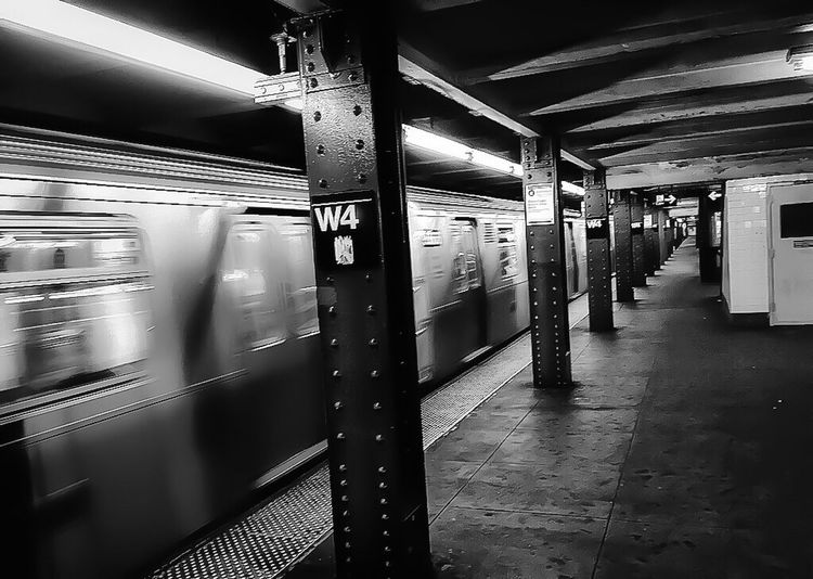 Subway in New York City Lgarciaphoto Shot On IPhone IPhoneography Iphoneonly IPhone IPhone Photography Iphonephotography IPhone 7 Plus Subway Train Indoors  Transportation Public Transportation Subway Station Blurred Motion Real People Men Illuminated People One Person Adults Only Day Adult Black And White Monochrome New York
