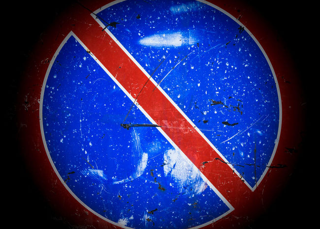 Old no parking sign with scratches and dents. Vintage looking. Area Backgrounds Blue Caution Dirty Earth Forbidden Grunge Icon Information Law No Parking Planet Prohibition Red Regulations Scratch Sign Signal Space Street Symbol Traffic Warning