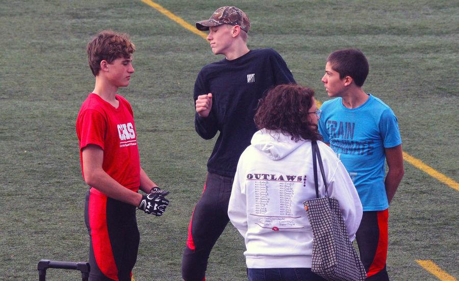 Junior Football game at Minoru Park in Richmond B.C. Canada. Sports Team Richmond BC Junior Football Minoru Park Red Canada B.C Competitive Sport Headwear Athlete Uniform Challenge Sportsman Sports Uniform