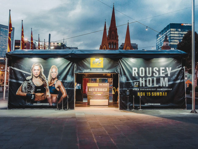 Ronda Rousey is coming to Melbourne! UFC Etihad Stadium. Melbourne Federation Square HDR Dawn Beautiful Eye4photography  Streetphotography Mobilephotography