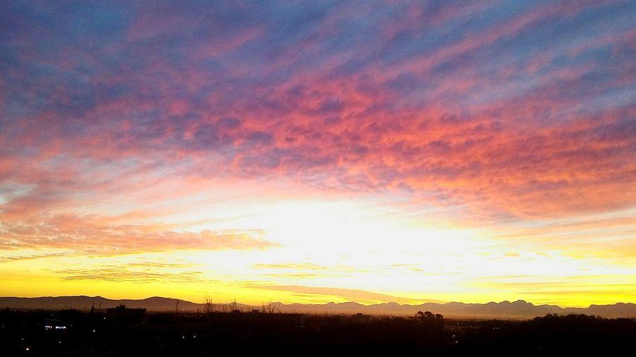 Sunrise This Morning Multi Colored Silhouette Dramatic Sky Romantic Sky