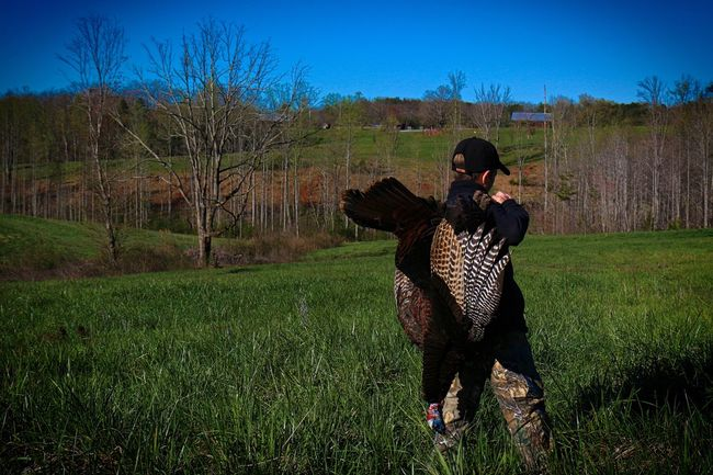 Successful Youth turkey hunter Turkey-bird Outdoors Hunter One Animal One Person Clear Sky Tranquil Scene Nature Kid Child Bird Dead Landscape NWTF Jake EyeEmNewHere