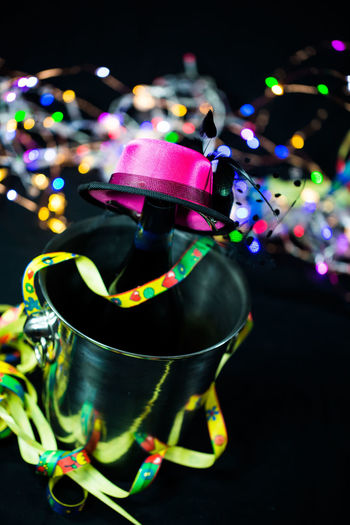 Champagne Bucket, Champagne Bucket, Lift With Champagne Bucket Close-up Illuminated Indoors  Multi Colored Night No People
