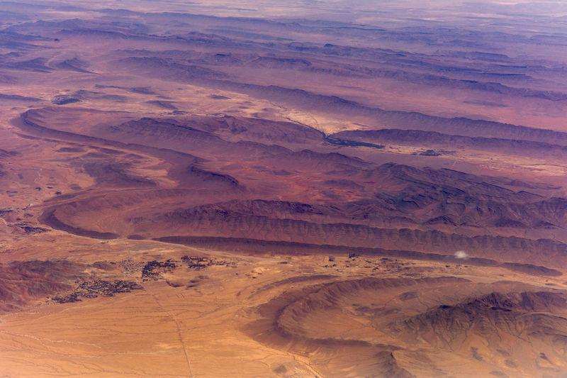 High angle view of sahara desert landscape