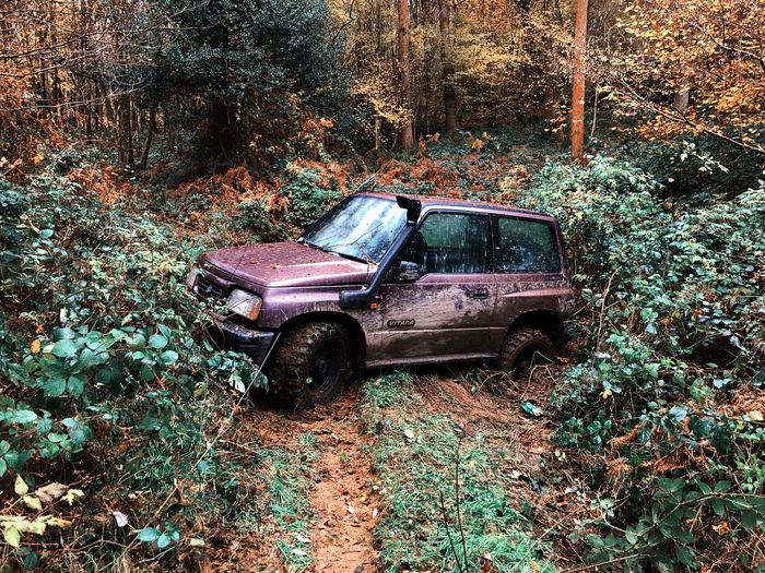 Stuck Jeep Life Jeep Abandoned Damaged Obsolete Land Vehicle Transportation Day Car Mode Of Transport Forest Outdoors Bad Condition No People Tree