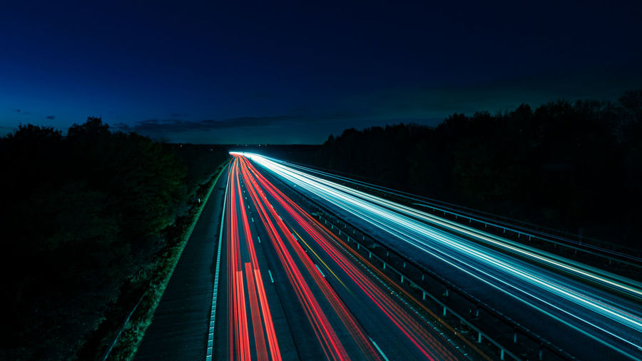 Light trails on highway at night