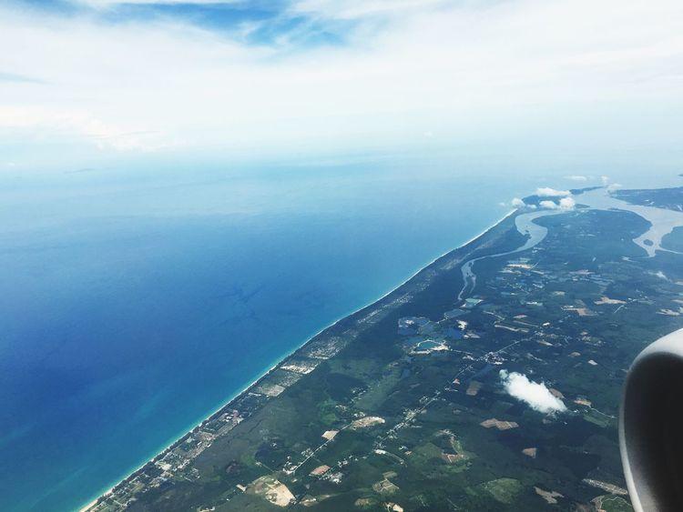 Phuket,Thailand From The Plane Window Sea And Sky Sea View Hello World