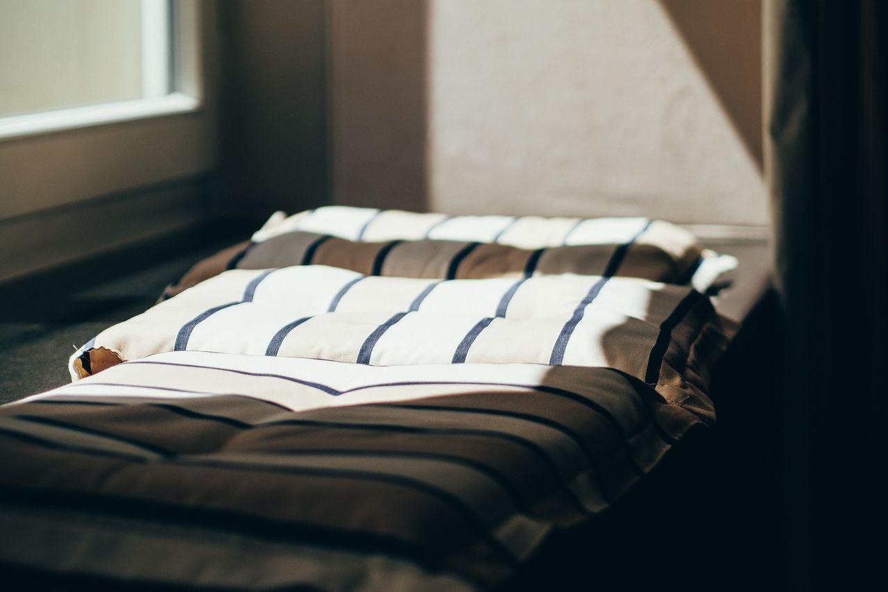 Sunlight falling on pillows