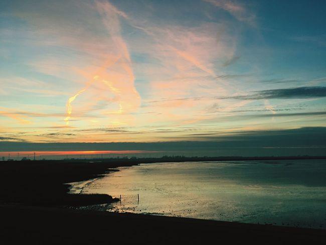 Sky Nature Scenics Sea Horizon Over Water Water Sunset Beach Tranquility Frisia Northsea Wadden Sea Dangast