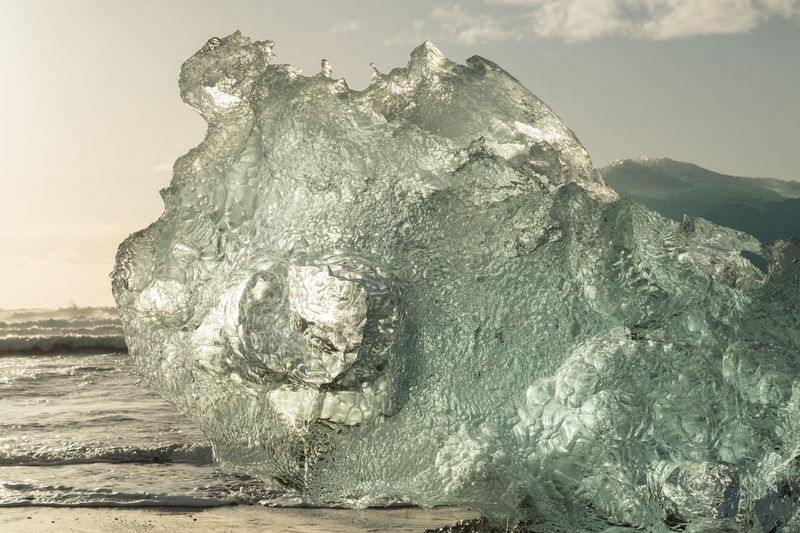 glacial ice on the beach Beach Beauty In Nature Close-up Day Glacial Glacial Ice Horizon Over Water Ice Iceland Nature No People Outdoors Scenics Sculpted Sea Sky Tranquility Water Waves