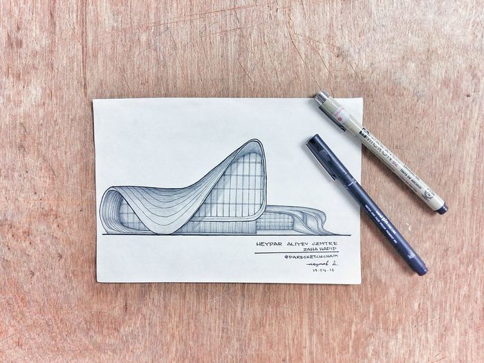 Sketch of Heydar Aliyev Centre by Asyraaf Suhaimi Artist History Art Gallery ArtWork Art Gallery Painting Paint Drawing - Art Product Building Exterior Tourism Travel Travel Photography Architecture Built Structure Photography White Wood Zaha Hadid ZahaHadid Heydar Aliyev Center Bartlett Future Deconstructivism Deconstruction EyeEmNewHere