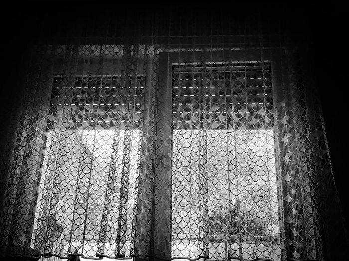 """""""Rear window 2.0"""" Behind Bars Feelings Sadness Thoughts Inside Looking Out Inside Outside Inside Outside Blinds Roller Blinds Grey White Daylight Old Old Curtain View Glass Curtain Black And White Photography Black Backyard Copy Space Centered In Front Window Close-up Architectural Detail Textured  Pattern Backgrounds #urbanana: The Urban Playground EyeEmNewHere"""