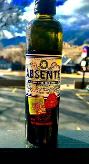Road Trippin' Motel Colorado Springs Absinthe Absente Road Trip Road Trippin' Bottle Drink Close-up Focus On Foreground Refreshment No People Day Sky