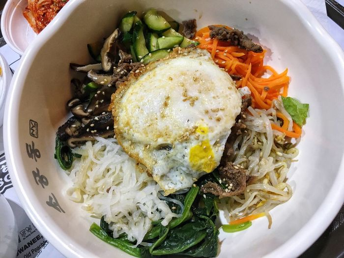 Bibimbap👌 비빔밥🤗 Have you tried it ? Korean Food Food Trying New Things HMart 비빔밥 Food And Drink Food Ready-to-eat Plate Freshness Healthy Eating High Angle View Indoors  Serving Size Egg No People Directly Above Meal Vegetable Close-up Egg Yolk Day
