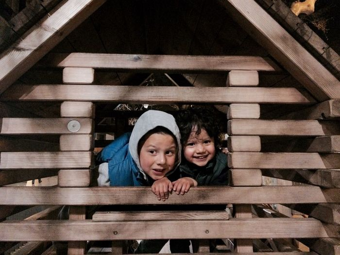 Siblings peeking from window of tree house