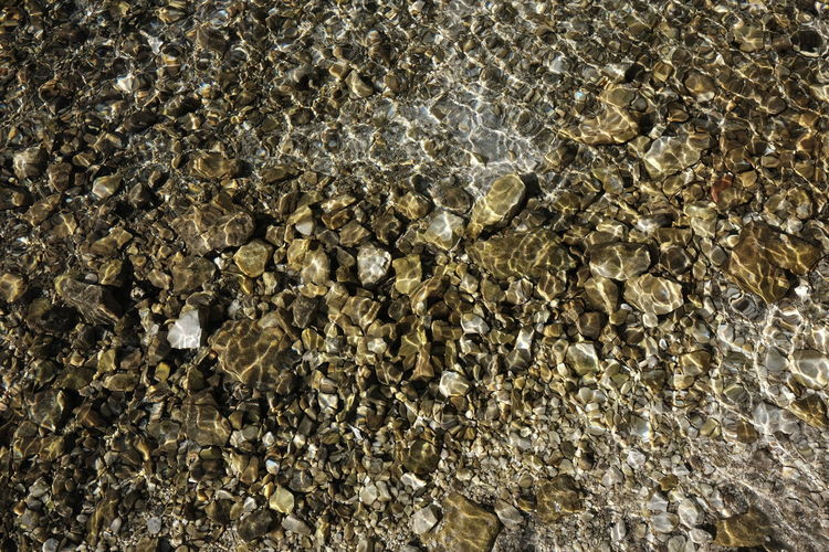 Full Frame Shot Of Pebbles In Water