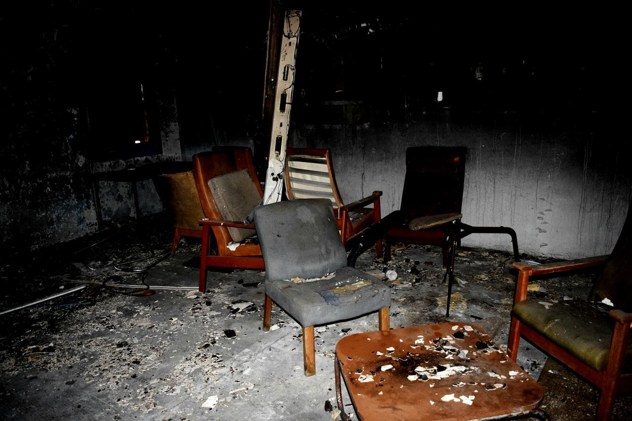 seat, chair, empty, absence, no people, wood - material, indoors, abandoned, table, messy, obsolete, furniture, old, nature, architecture, snow, wall, wood