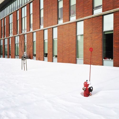 Exterior Of Building On Snow Covered Field