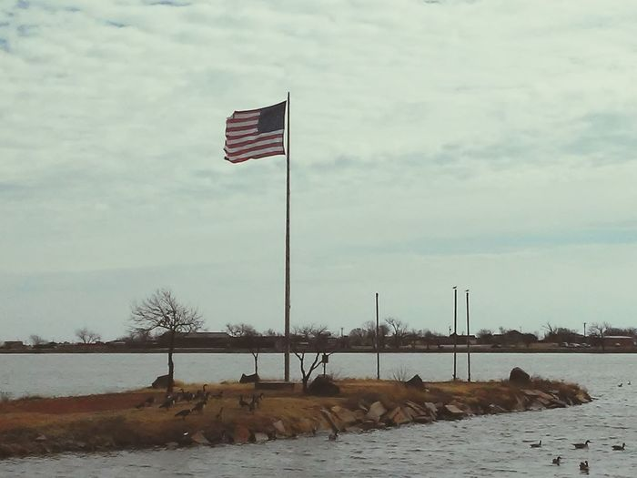 USA FLAG Landmark Pattern Water Ducks Natrualbeauty Sightseeing Lookout Point Lake Lake View Flags Sunlight Landscape_photography Colors Flag Patriotism Sky No People Nature Outdoors Day Beauty In Nature