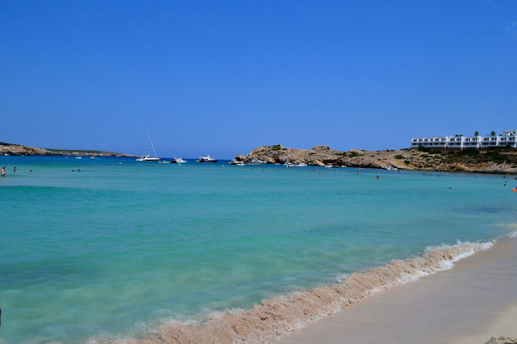 Formentera Holidays Idilic SPAIN Balearic Islands Beach Beauty In Nature Blue Clear Sky Day Horizon Over Water Menorca Nature No People Outdoors Rock - Object Sand Scenics Sea Sky Tranquil Scene Tranquility Travel Destinations Water