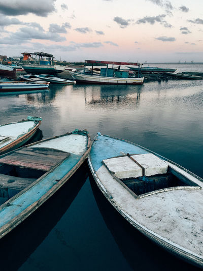 Egypt Poor  Transportation Wooden Boat Boat Boats Egyptian Fishing Fishing Boat Lake Moored Nature Nautical Vessel No People Outdoors Refliction Sky Sunset Transportation Village Village Life Water Wooden