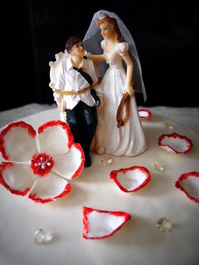 Art Bride Cake Couple Decoration Flower Groom Newlywed People Together Wedding Wedding Cake