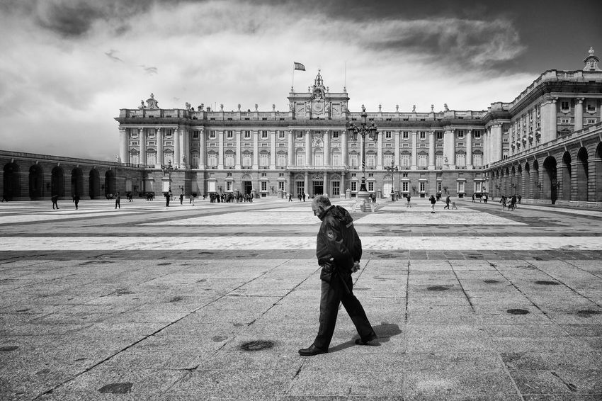 Madrid SPAIN Security Architecture Building City Cloud - Sky Day Duty Government History One Person Palace Real People Security Post Tourism Travel Travel Destinations Wide Spaces