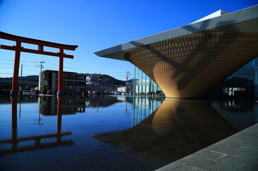 Eos5dmarkiii Mt.Fuji Architecture Built Structure Water Reflection Building Exterior Outdoors Bridge - Man Made Structure No People Clear Sky Day Sky Waterfront Lake Blue Nature Beauty In Nature