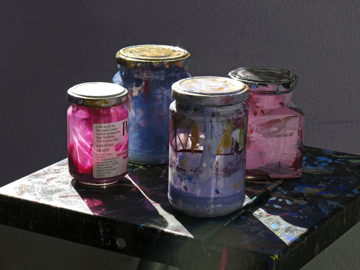 Acrilyc Paint Acrylic Blue Color Palette Colors Colorsplash Dirty Glass Glass - Material Jars  Jars Of Lights Light Lightblue Pink Pink And Blue Pink Color Pink Rose Sunny Light Sunny Light And Shadows Various