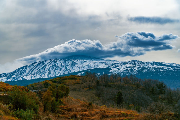 Scenic view of snowcapped mountains against sky. etna volcano