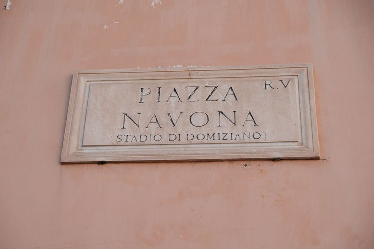 Italian Piazza Navona street name sign. Navona square is central Rome's elegant showcase square with its three majestic fountains and surrounding mansions Piazza Navona Piazza Navona, Rome Italy Piazza Navona, Rome-Italy Rome Rome Italy🇮🇹 Close-up Navona Place Navonasquare No People Outdoors Rome Italy Street Name Street Name Sign Street Name Signs Topography