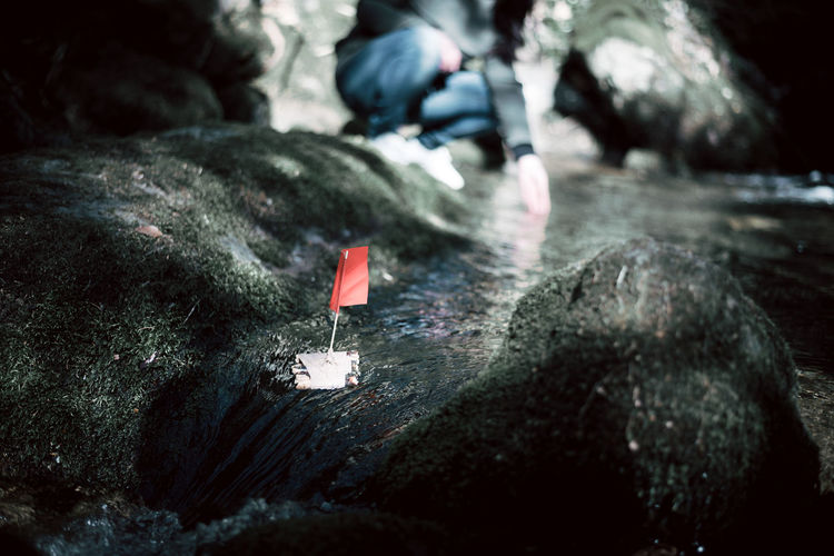 See you! Adventure Boat Bye Bye Close-up Cool Day Forest Green Color Letting Go Mini Nature Outdoors Raft Red Small Things Water Water Reflections TCPM Breathing Space Perspectives On Nature